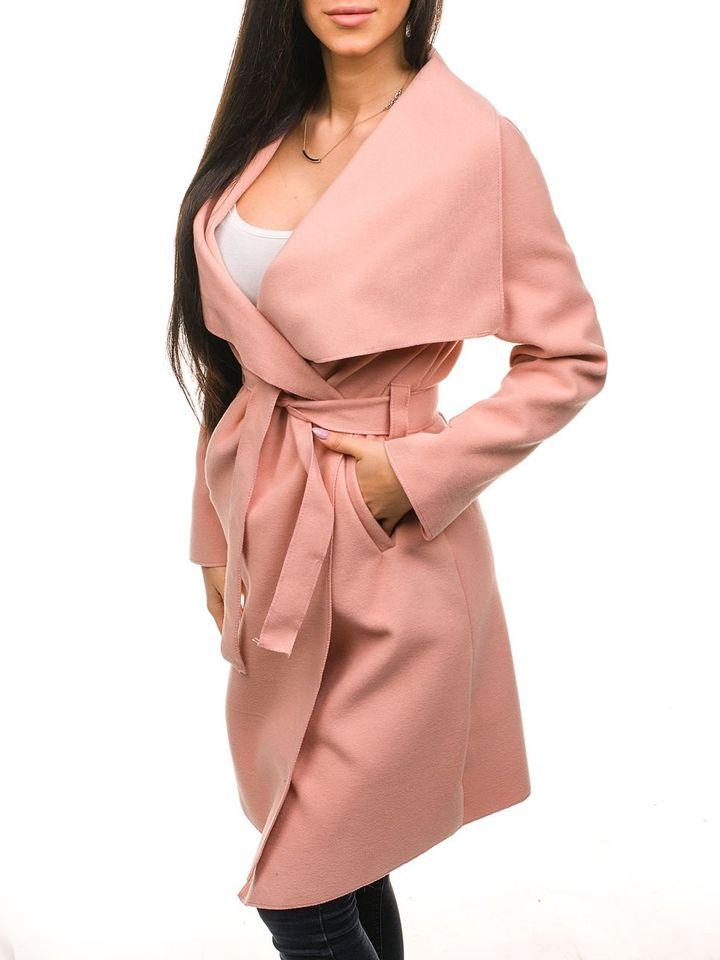 Подовжене жіноче пальто рожеве Bolf 1729 РОЖЕВИЙ 9570c1f37a720