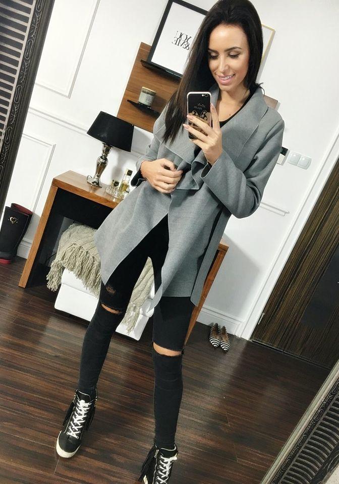Сіре жіноче пальто Bolf 1726 SZARY 9401fa5dac3a3