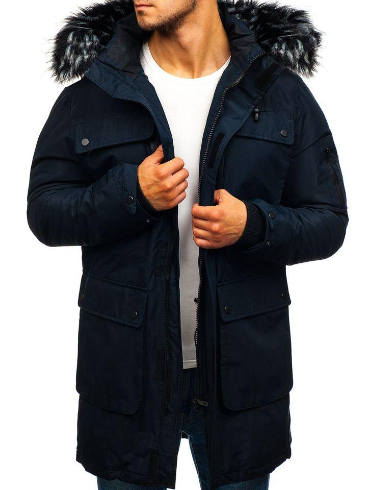Чоловіча зимова куртка парка темно-синя Bolf 201803 ТЕМНО-СИНІЙ 8f5f4bab8dd4b