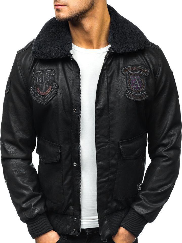 Чоловіча шкіряна куртка пілот чорна Bolf 4788 6b2470169532d