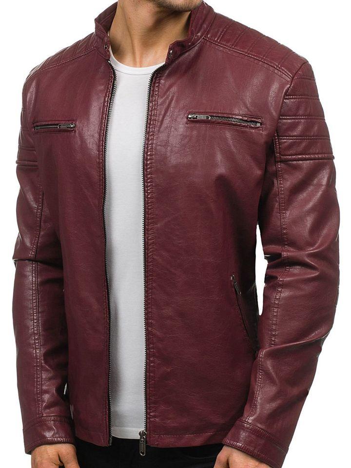 Бордова чоловіча шкіряна куртка Bolf EX388 БОРДОВИЙ 7bba9a22c3b49