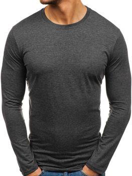 Антрацитовая мужская футболка с длинным рукавом без принта Bolf 135