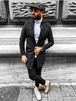 Антрацитовое мужское зимнее пальто Bolf 0010