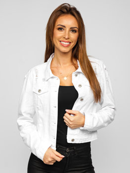 Белая женская короткая джинсовая куртка Bolf WL1746-10