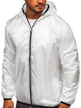 Белая мужская демисезонная куртка с капюшоном ветровка BOLF 5060