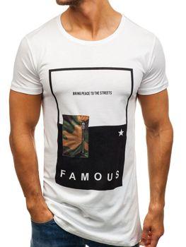 Белая мужская футболка с принтом Bolf 1014