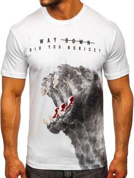Белая мужская футболка с принтом Bolf 181519