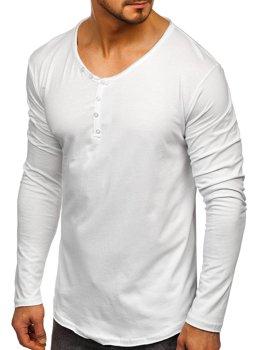 Белый мужской лонгслив без принта Bolf 5059
