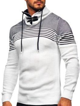 Белый мужской свитер толстой вязки с воротником-стойкой Bolf 1039