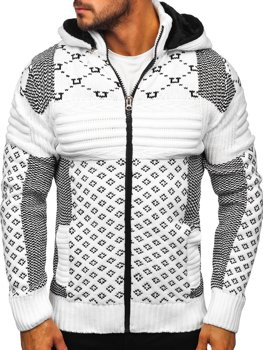 Белый мужской свитер толстой вязки Bolf 2060