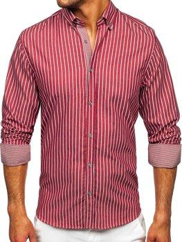Бордовая мужская рубашка в полоску с длинным рукавом Bolf 20731