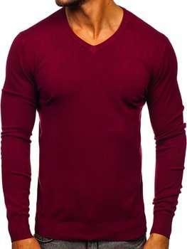 Бордовый мужской свитер с V-образным вырезом Bolf YY03