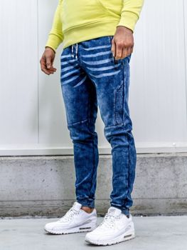 Брюки джоггеры мужские джинсовые темно-синие Bolf kk1063