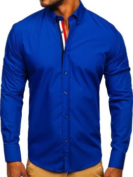 Елегантна чоловіча сорочка з довгим рукавом кобальтова Bolf 3713