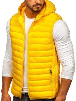 Желтый стеганый мужской жилет с капюшоном Bolf LY36