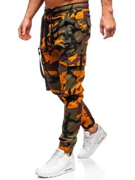 Зелено-оранжевые мужские джоггеры-карго Bolf 11105