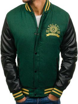 Зимняя мужская спортивная куртка зеленая Bolf k18