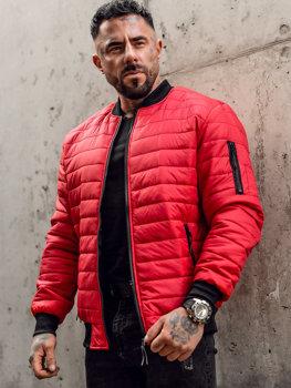 Красная демисезонная мужская куртка-бомбер  Bolf MY-02