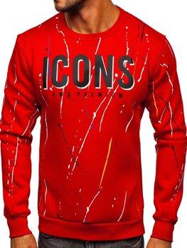 Красная мужская толстовка с принтом без капюшона Bolf 146058
