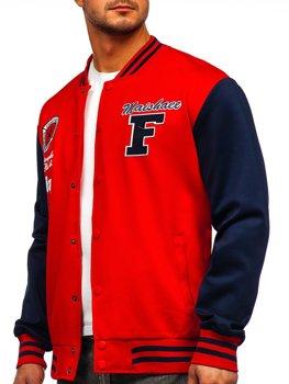 Красная толстовка-куртка мужская тонкая бейсбольная с принтом Bolf B10160