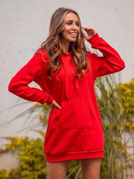 Красная удлиненная женская толстовка с капюшоном BOLF YS10003