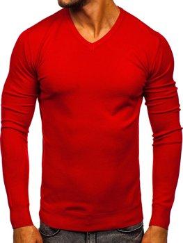 Красный мужской свитер с V-образным вырезом Bolf YY03