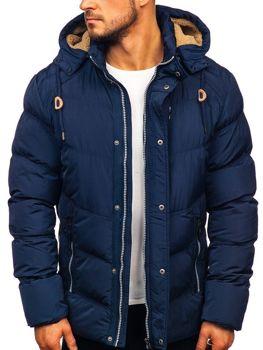 Куртка мужская зимняя стеганая темно-синяя Bolf 1664