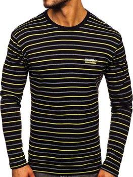 Лонгслив мужской полосатый черно-желтый Bolf 1519