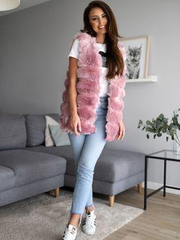 Меховая жилетка женская розовая Bolf MF201
