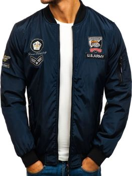 Мужская демисезонная куртка бомберка темно-синяя Bolf 736B