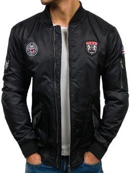 Мужская демисезонная куртка бомберка черная Bolf H708