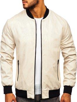 Мужская демисезонная куртка бомбер бежевая Bolf 6116