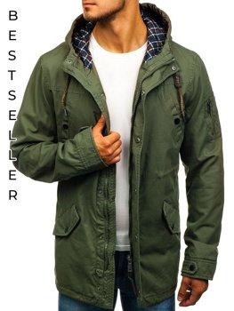 Мужская демисезонная куртка парка зеленая Bolf 1818