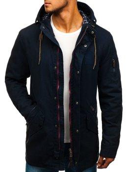 Мужская демисезонная куртка парка темно-синяя Bolf 1819
