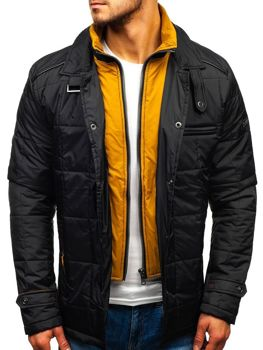 Мужская демисезонная куртка черно-желтая Bolf 50004