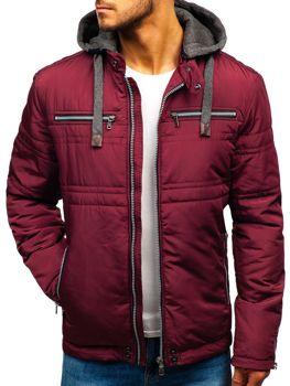 Мужская демисезонная куртка элегантная бордовая Bolf 1763