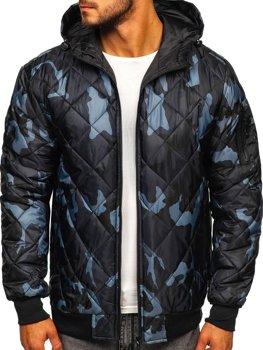 Мужская демисезонная спортивная куртка камуфляж-графитовая Bolf MY21M
