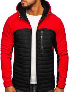 Мужская демисезонная флисовая куртка красная Bolf YL010