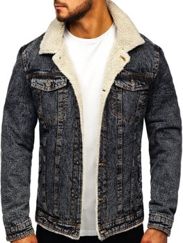 Мужская джинсовая куртка графитовая Bolf 1109