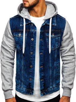 Мужская джинсовая куртка с капюшоном темно-синяя Bolf 211902