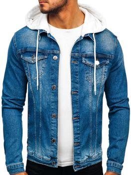 Мужская джинсовая куртка с капюшоном темно-синяя Bolf 606