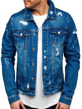 Мужская джинсовая куртка темно-синяя Bolf AK580
