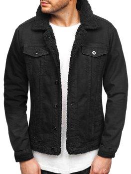 Мужская джинсовая куртка черная Bolf 1901