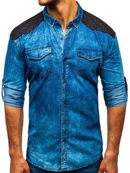 906146e209a Мужская джинсовая рубашка в узоры с длинным рукавом синяя Bolf 0517