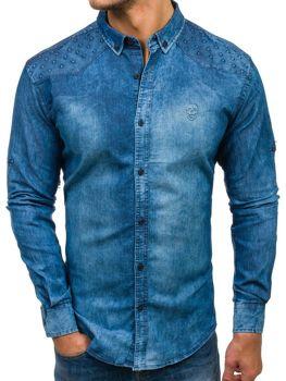 Мужская джинсовая рубашка с длинным рукавом синяя Bolf 0540
