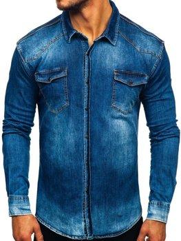 Мужская джинсовая рубашка с длинным рукавом темно-синяя Bolf 2063