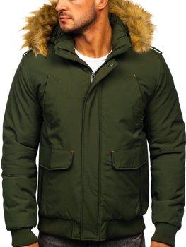 Мужская зимняя куртка зеленая Bolf 1770