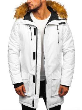 Мужская зимняя куртка парка белая Bolf 201902