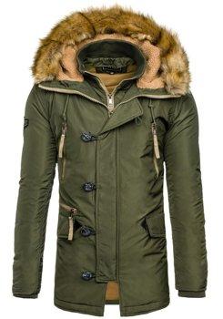Мужская зимняя куртка парка зеленая Bolf 1045C