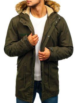 Мужская зимняя куртка парка зеленая Bolf YL002